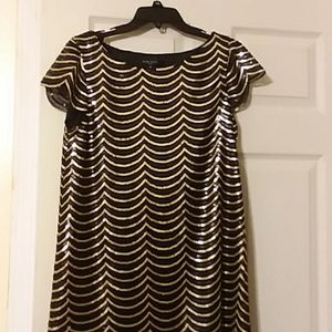 NEW, NINE WEST, black and gold sequinned dress